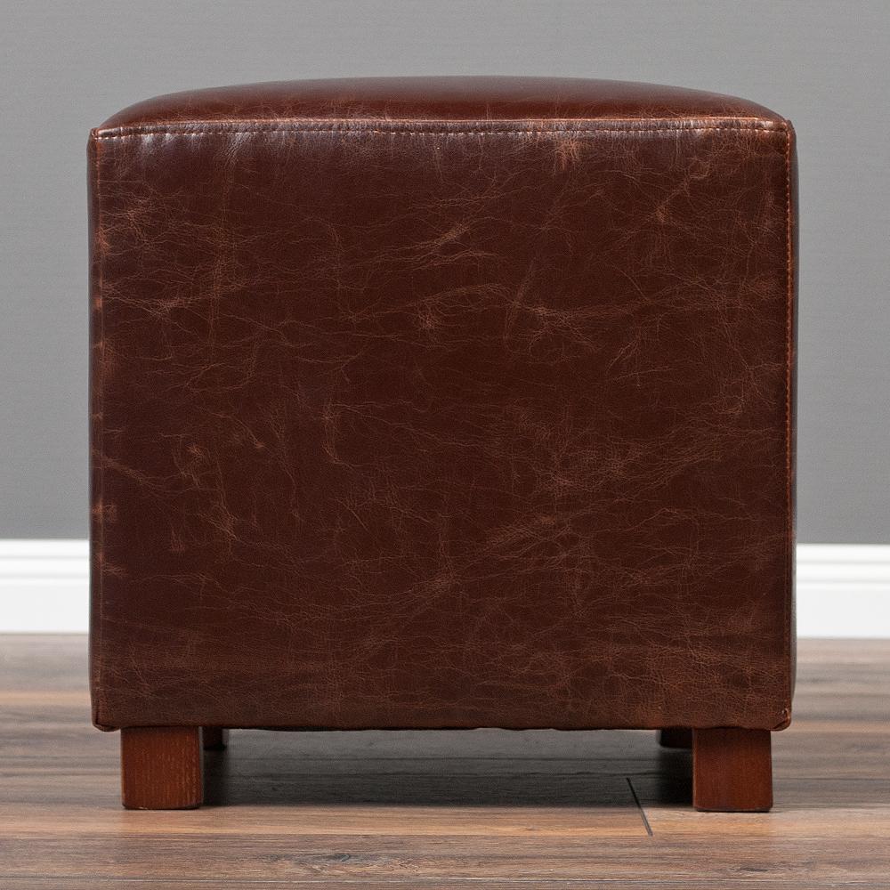 hocker home brown spalt leder clubhocker sitzw rfel 35x35cm vintage ebay. Black Bedroom Furniture Sets. Home Design Ideas