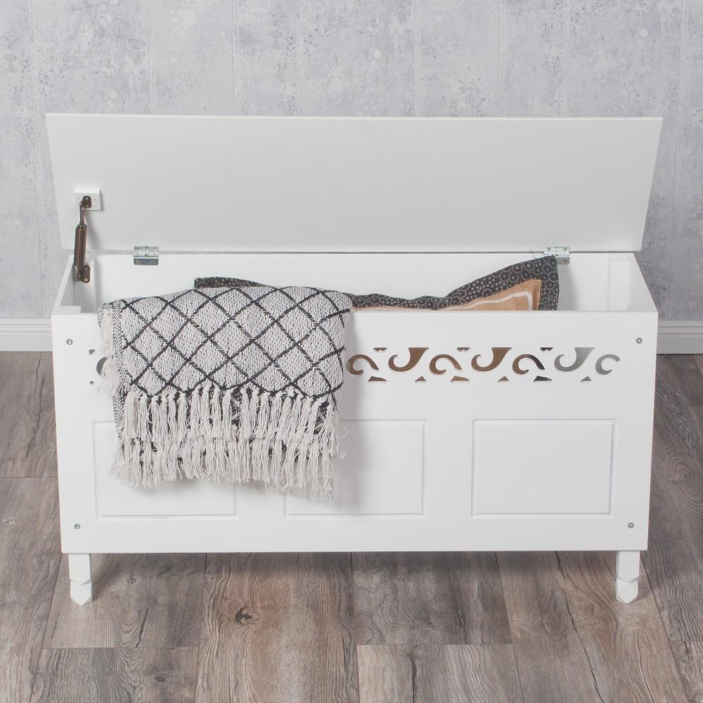 sonderpreis exklusive truhe rosali bank landhaus truhenbank wei sitzbank ebay. Black Bedroom Furniture Sets. Home Design Ideas