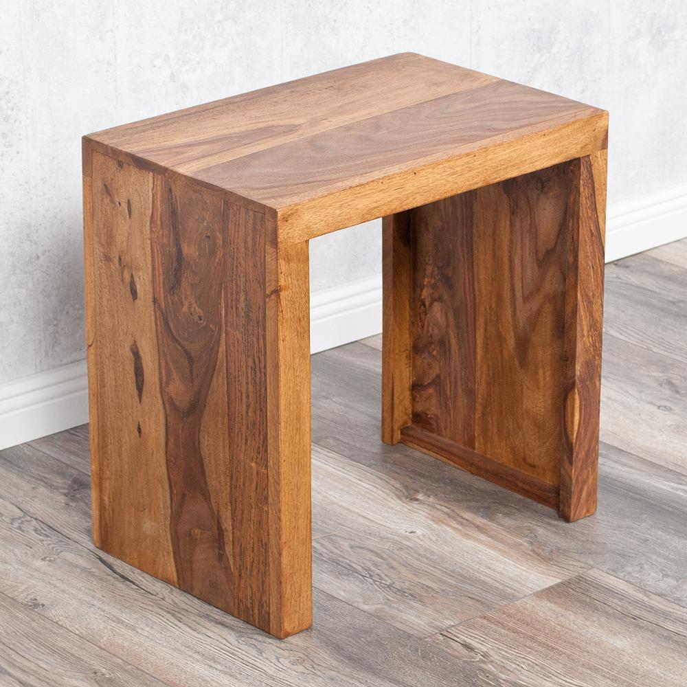 beistelltisch nest l 45cm farbe stone n akazie blumenhocker massiv holz hamburg. Black Bedroom Furniture Sets. Home Design Ideas