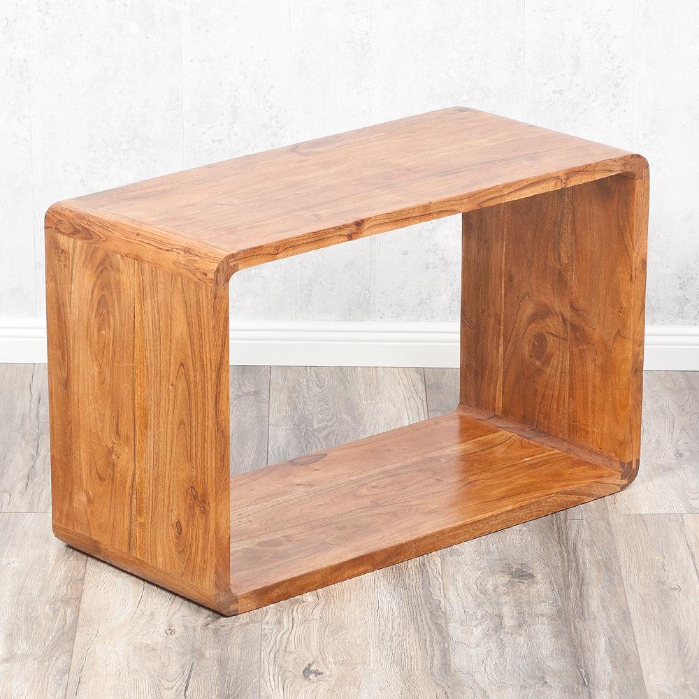 cube lalita stone a 80x50cm massivholz akazie couchtisch. Black Bedroom Furniture Sets. Home Design Ideas