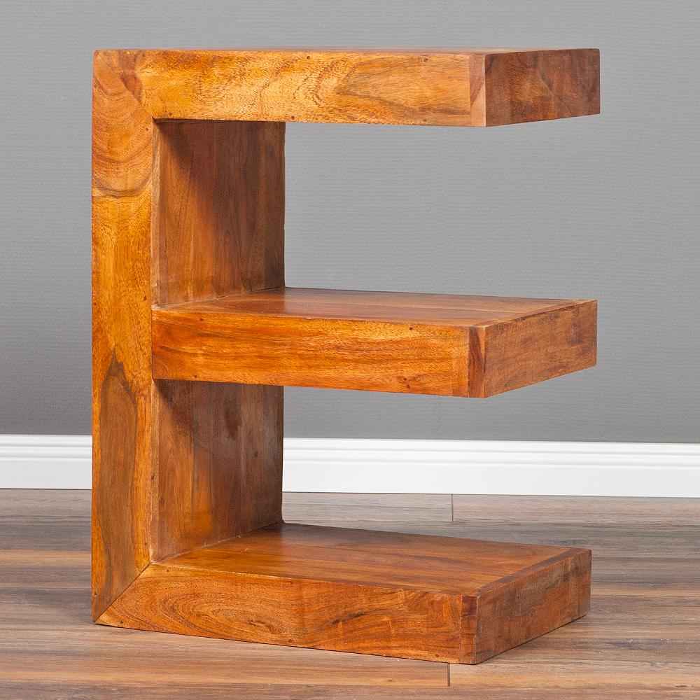 beistelltisch letter e stone akazie massivholz buchstabe. Black Bedroom Furniture Sets. Home Design Ideas