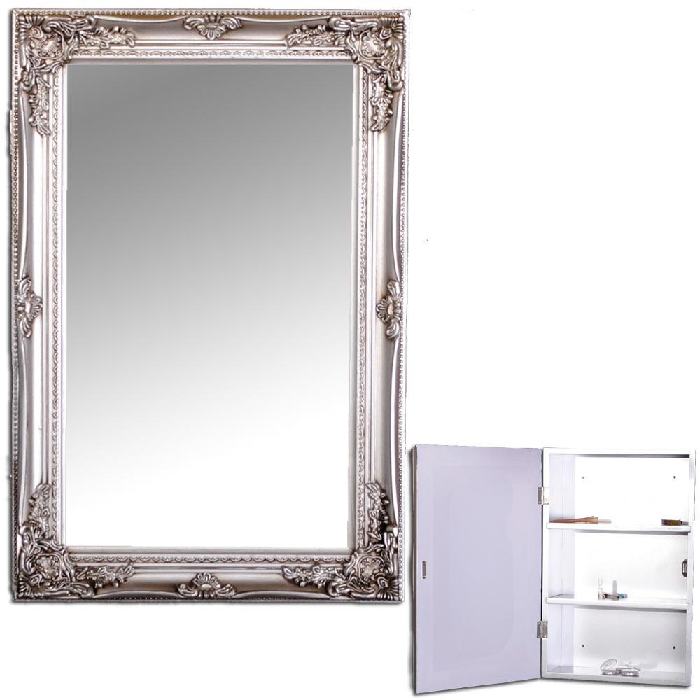 spiegelschrank beatrice 60x40cm badezimmer schrank silber badschrank landhaus ebay. Black Bedroom Furniture Sets. Home Design Ideas