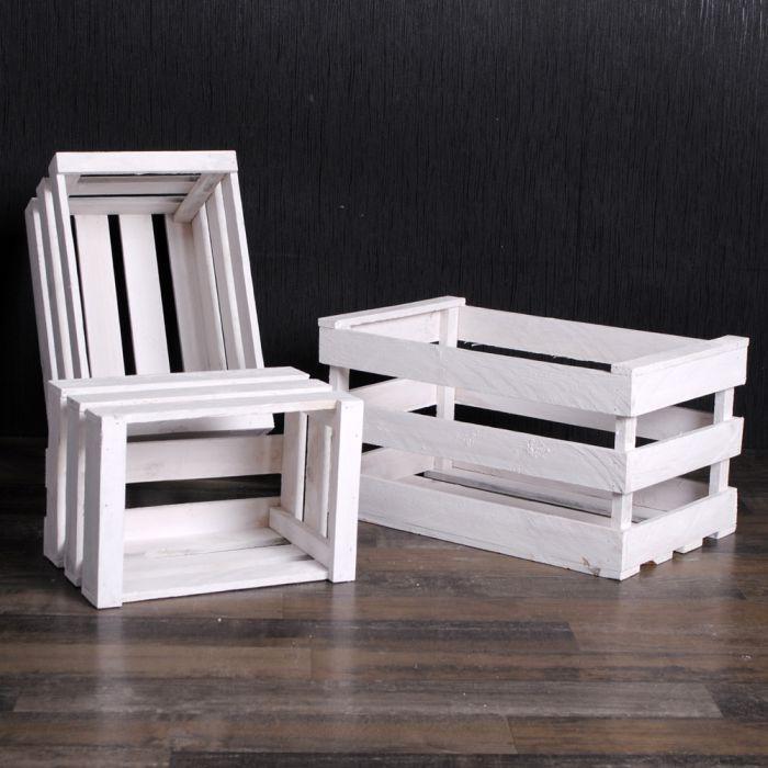 3er set holzkiste obstkiste weinkiste bartek wei 4365. Black Bedroom Furniture Sets. Home Design Ideas
