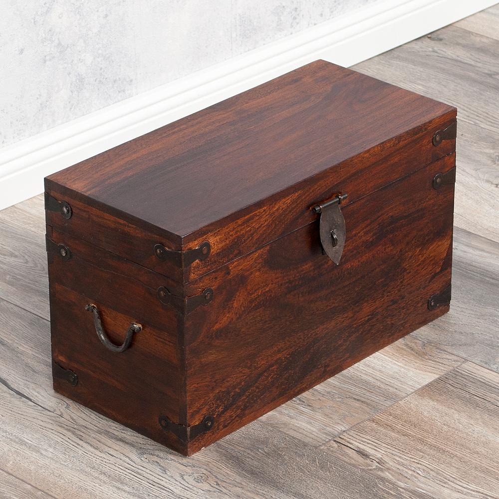 massivholz truhe tarun dark brown n 42cm akazie 4468. Black Bedroom Furniture Sets. Home Design Ideas
