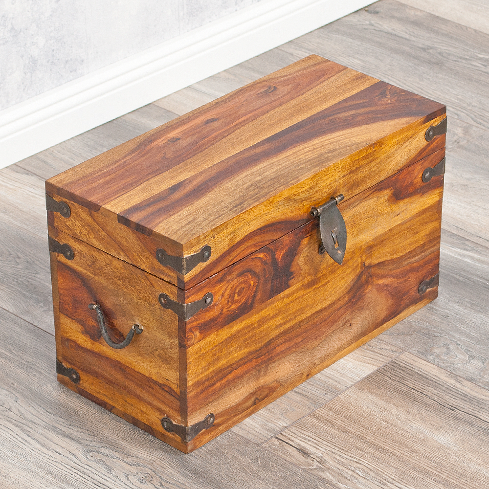 massivholz truhe tarun 42cm stone akazie holztruhe holzkiste couchtisch ebay. Black Bedroom Furniture Sets. Home Design Ideas