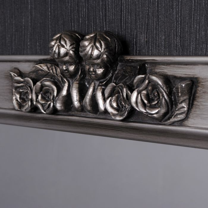 barock wandspiegel engel antik spiegel holzrahmen angelo 78x60cm silber antik ebay. Black Bedroom Furniture Sets. Home Design Ideas