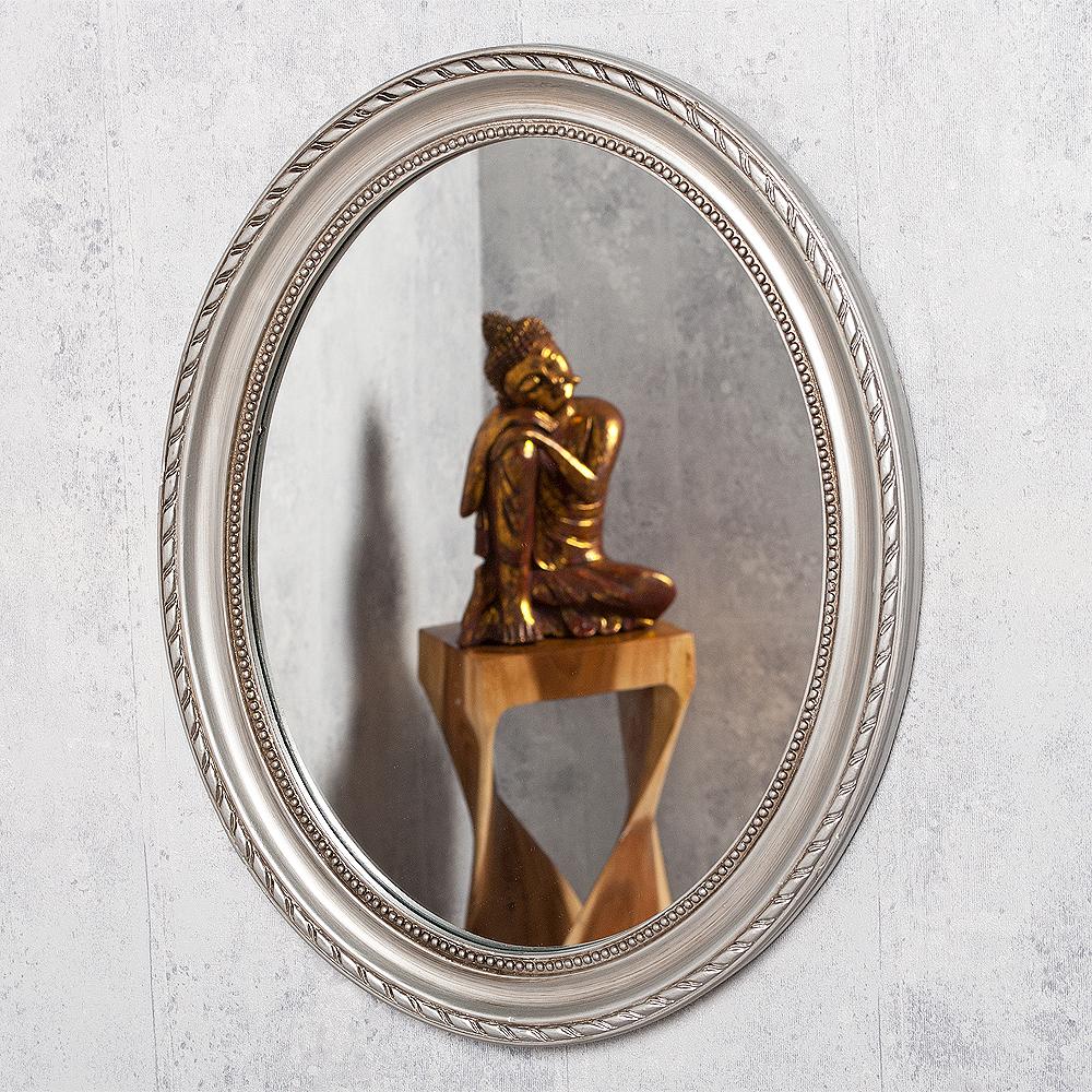 spiegel nerina 50x40cm silber antik oval 5013. Black Bedroom Furniture Sets. Home Design Ideas