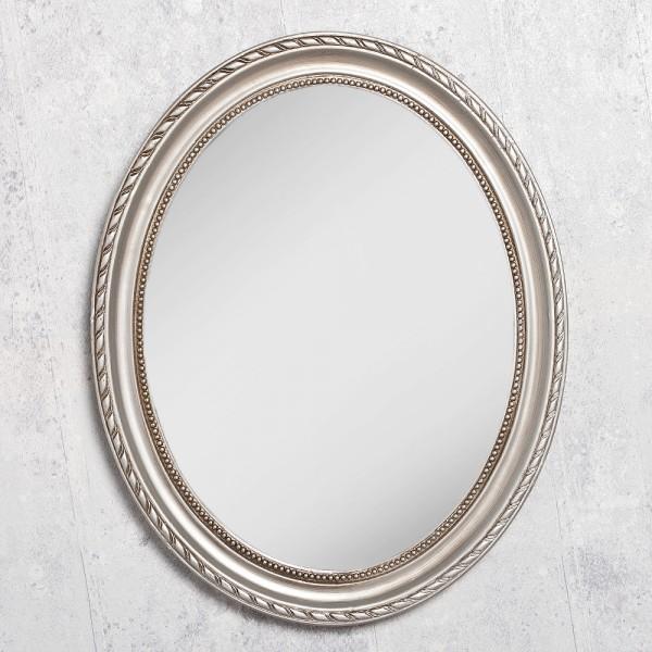 Spiegel nerina 50x40cm silber antik oval 5013 for Spiegel oval silber