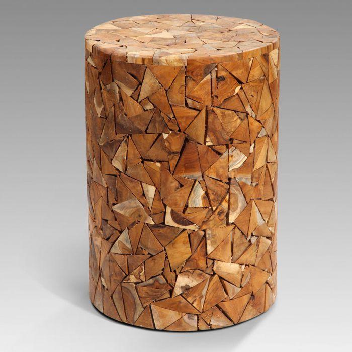holzhocker massiv hocker teak holz recycelt rund 5050. Black Bedroom Furniture Sets. Home Design Ideas