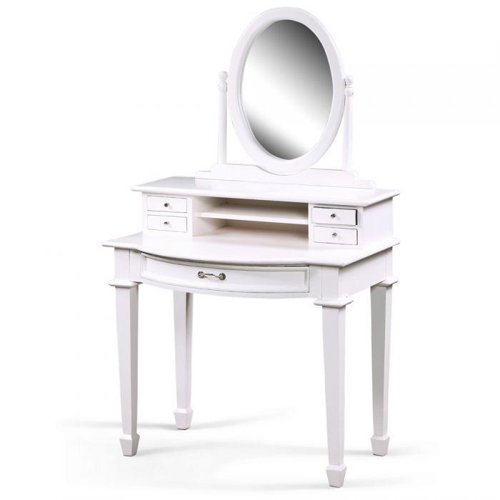 Schminktisch WHITE mit Spiegelaufsatz im Landhaus-Stil 5057