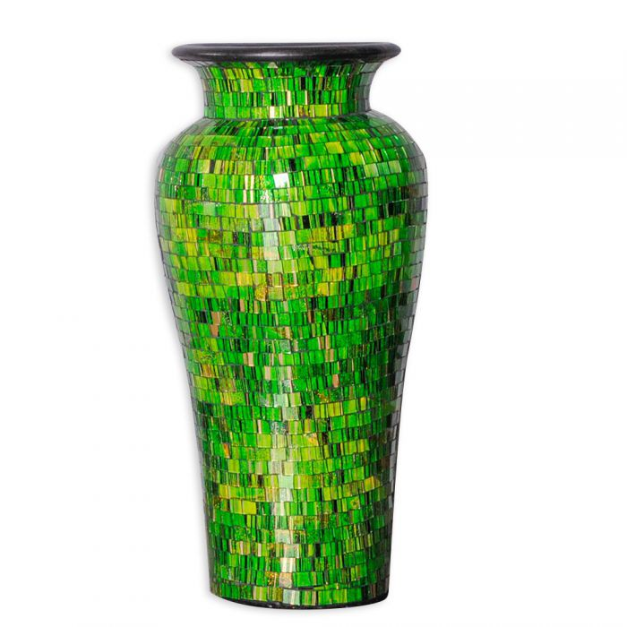 deko vase jimbaran veredelt mit glas mosaiksteinen gr n 5134. Black Bedroom Furniture Sets. Home Design Ideas