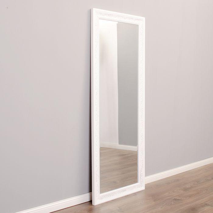 wandspiegel fiora barock spiegel 130x50cm weiss silber landhaus holzrahmen ebay. Black Bedroom Furniture Sets. Home Design Ideas