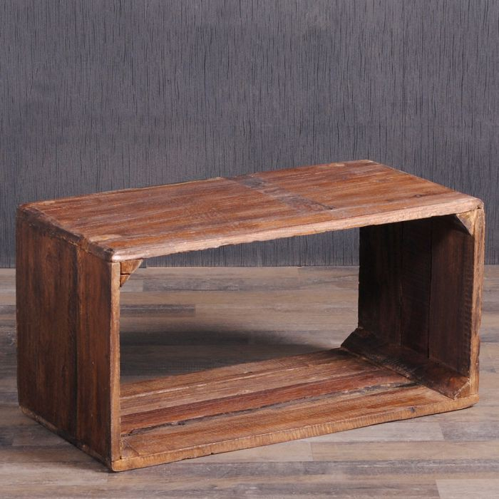couchtisch cube leolo 70cm rustic brown 5263. Black Bedroom Furniture Sets. Home Design Ideas