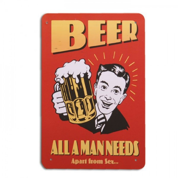 Metallschild BEER Vintage Schild im Retro-Design