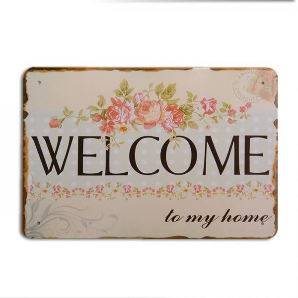 Metallschild WELCOME Vintage Schild im Retro-Design