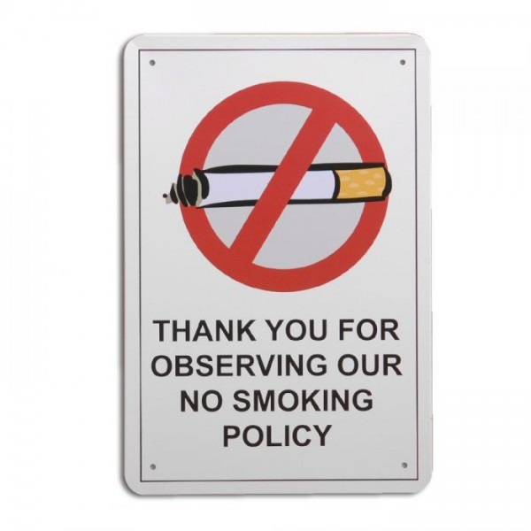 Metallschild NO SMOKING  Vintage Schild im Retro-Design