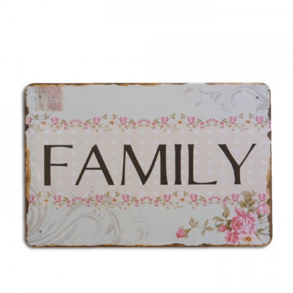 Metallschild FAMILY 20x30cm Vintage Schild im Retro-Design