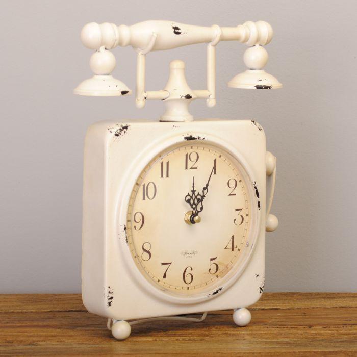 design metall tischuhr telefon phone uhr retro b ro arbeitstisch antik vintage 4251105606055 ebay. Black Bedroom Furniture Sets. Home Design Ideas