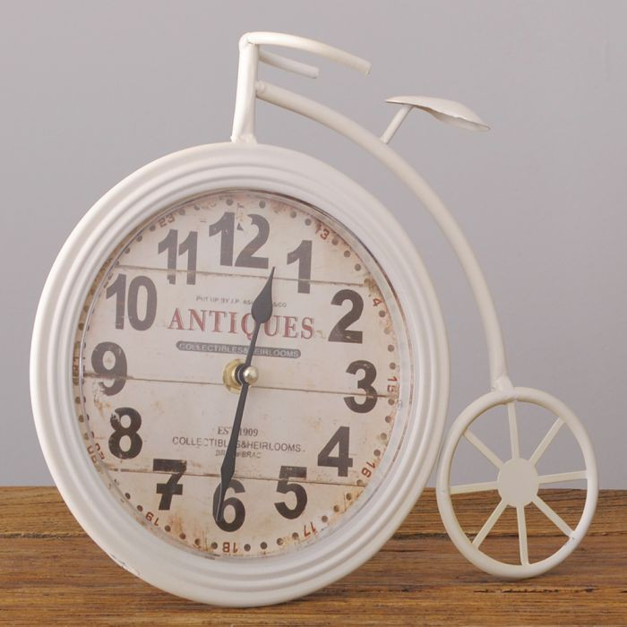 design metall tischuhr fahrrad bike uhr retro b ro arbeitstisch ziffern vintage ebay. Black Bedroom Furniture Sets. Home Design Ideas