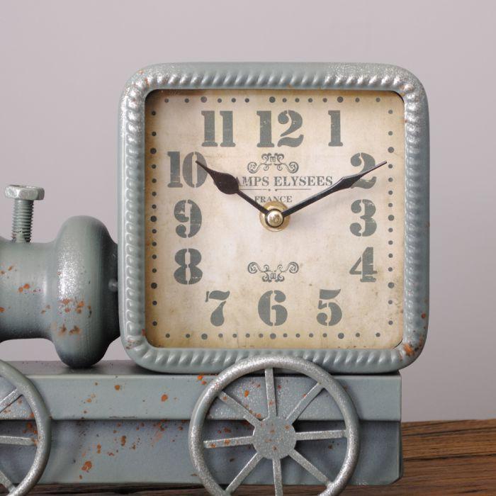 design metall tischuhr loco lokomotive uhr retro arbeitstischuhr antik vintage ebay. Black Bedroom Furniture Sets. Home Design Ideas