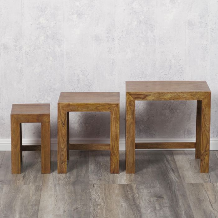 akazienholz massivholz beistelltisch 3er set nest holztisch couchtisch tisch ebay. Black Bedroom Furniture Sets. Home Design Ideas