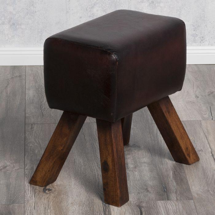 hocker turnbock maximo 47cm dark brown v echtleder vintage lederhocker fu hocke ebay. Black Bedroom Furniture Sets. Home Design Ideas