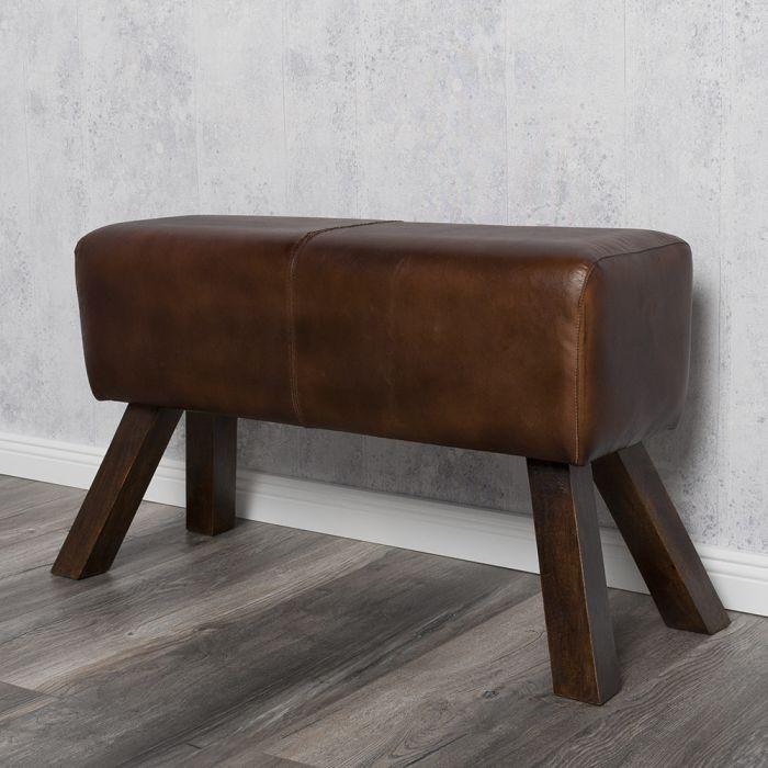 hocker turnbock maximo 76cm brown v echtleder leder clubhocker lederhocker fu ho ebay. Black Bedroom Furniture Sets. Home Design Ideas
