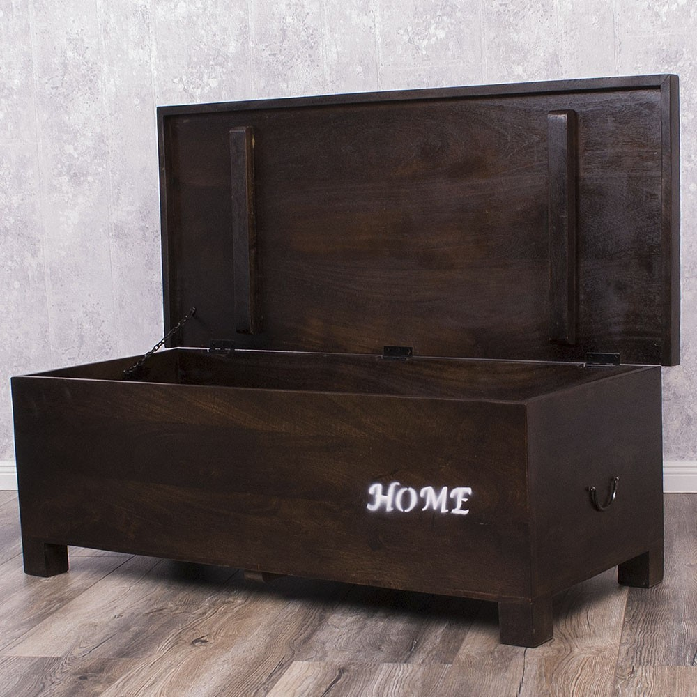 gro e massivholz truhe mangoholz holztruhe ajala holzkiste 115cm walnut ebay. Black Bedroom Furniture Sets. Home Design Ideas