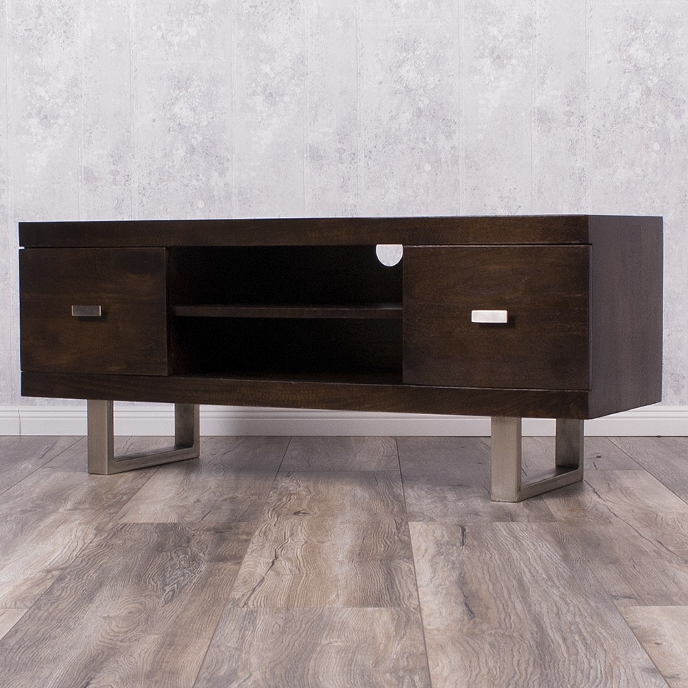 tv board laya walnut mangoholz massiv 120cm wohnzimmer lowboard 5613. Black Bedroom Furniture Sets. Home Design Ideas