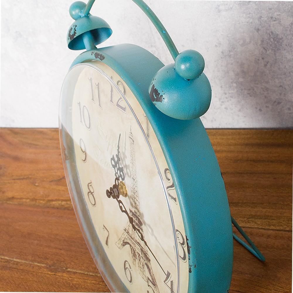 design metall tischuhr in form eines weckers uhr antik turkis 26cm ebay. Black Bedroom Furniture Sets. Home Design Ideas