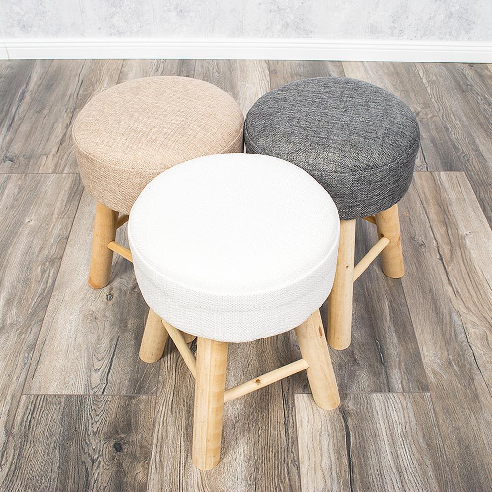 henry design hocker sitzhocker vollholz leinenbezug beige h 41cm ebay. Black Bedroom Furniture Sets. Home Design Ideas