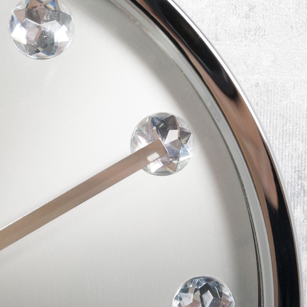 moderne runde wanduhr silber strass 26cm schlicht und edel im design k chenuhr ebay. Black Bedroom Furniture Sets. Home Design Ideas