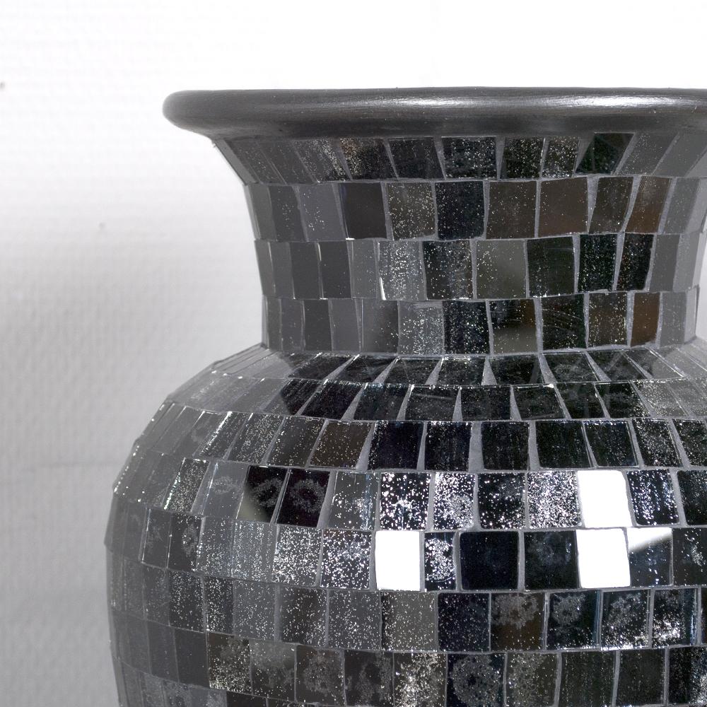 schwarze dekovase bodenvase ca 50cm mosaiksteinen vase bali designer mosaik des ebay. Black Bedroom Furniture Sets. Home Design Ideas