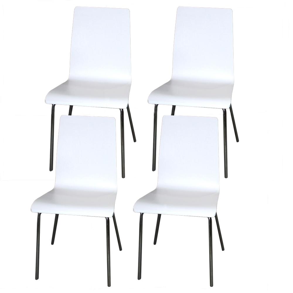 4er Set Stuhl YORK weiß stapelbar Esszimmerstuhl Küchenstuhl ...