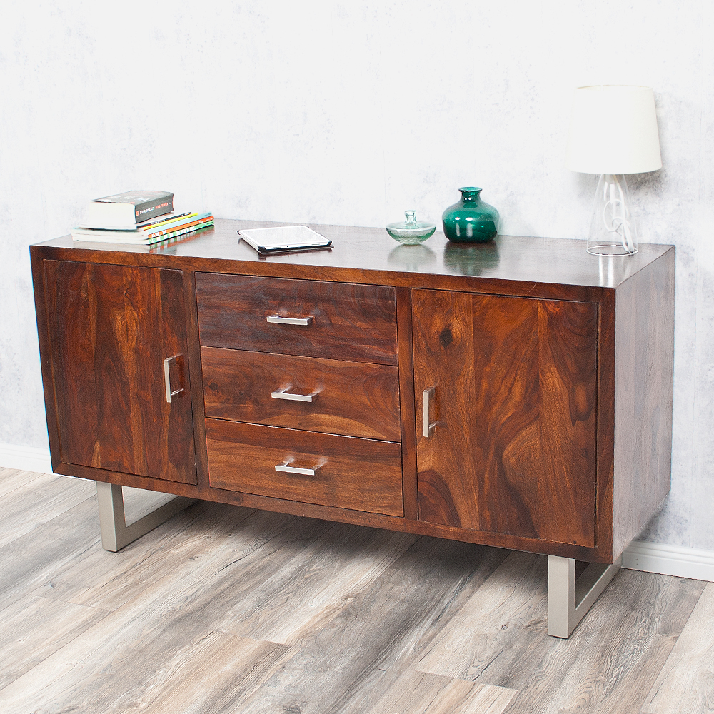 sideboard moda aus massivem palisanderholz sheesham dark m kommode tv board ebay. Black Bedroom Furniture Sets. Home Design Ideas