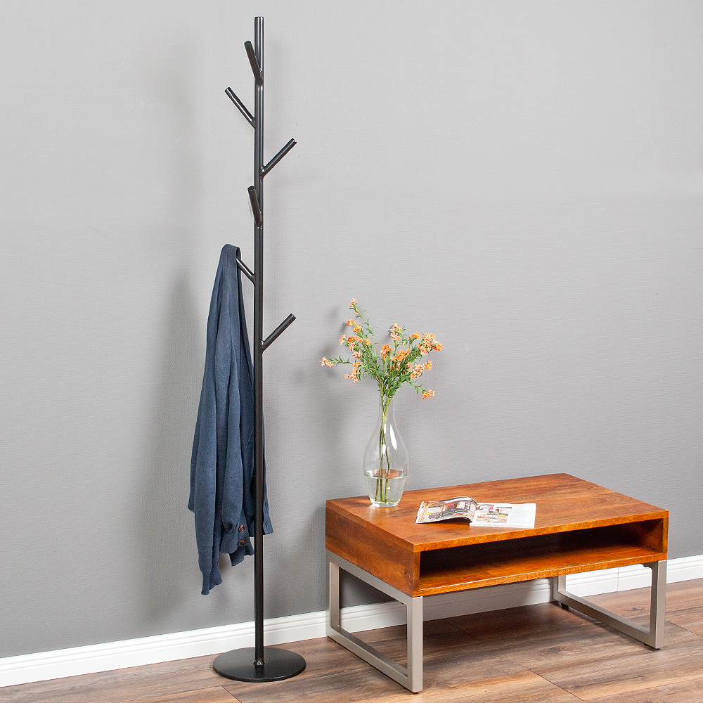 design garderobenst nder tree aus metall schwarz kleiderst nder h he 170cm ebay. Black Bedroom Furniture Sets. Home Design Ideas