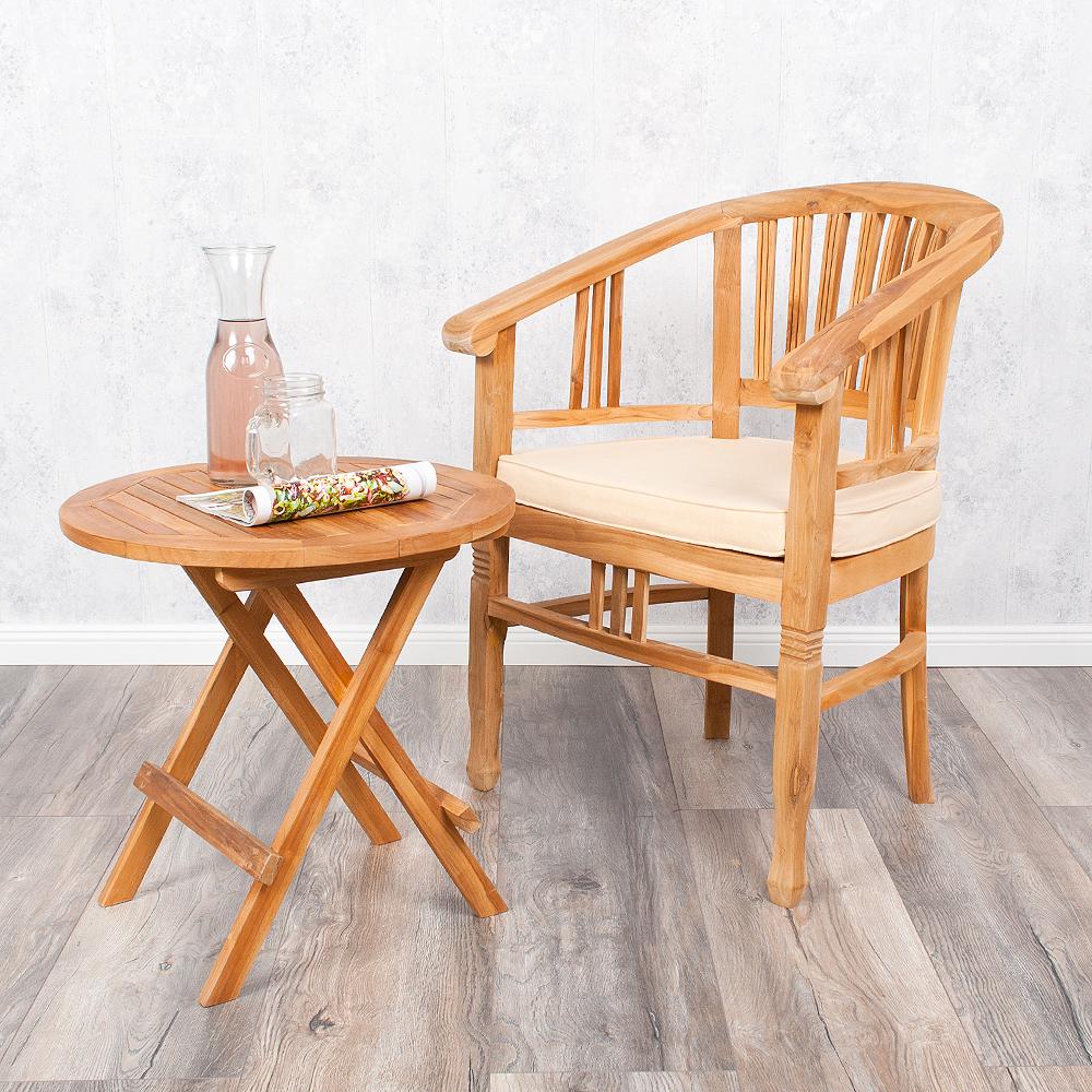 teakholz gartenstuhl stuhl jane natural mit armlehne incl kissen 6182. Black Bedroom Furniture Sets. Home Design Ideas