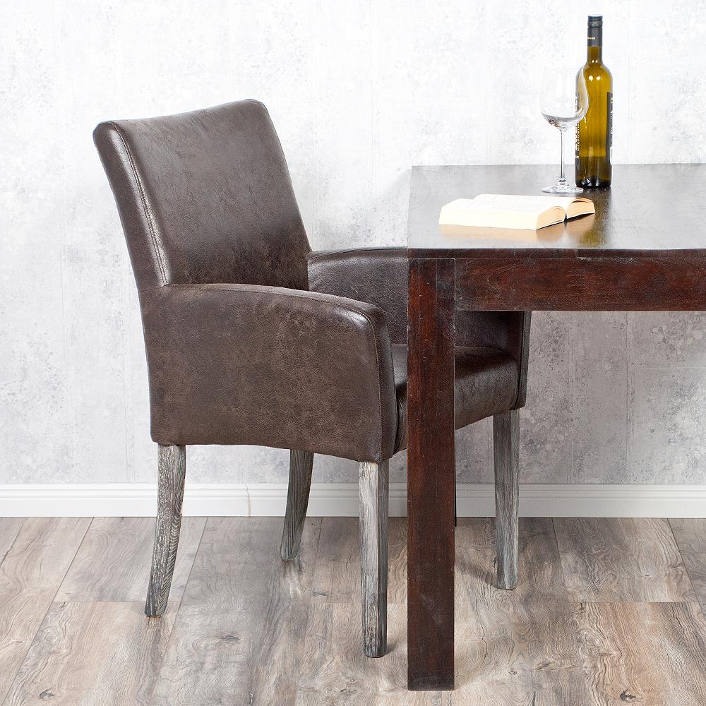 echtleder armlehnstuhl home dark brown vollleder ledersessel esszimmerstuhl ebay. Black Bedroom Furniture Sets. Home Design Ideas