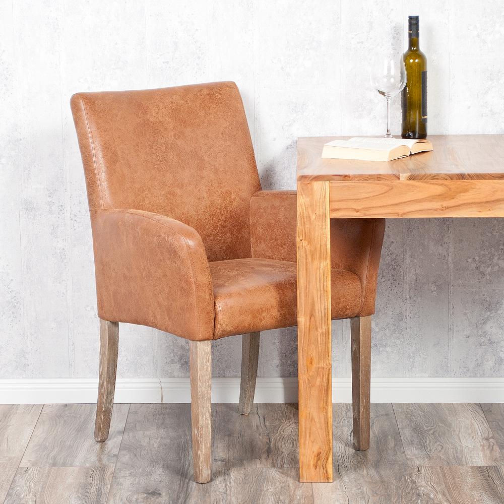 echtleder armlehnstuhl home cognac vollleder ledersessel esszimmerstuhl ebay. Black Bedroom Furniture Sets. Home Design Ideas