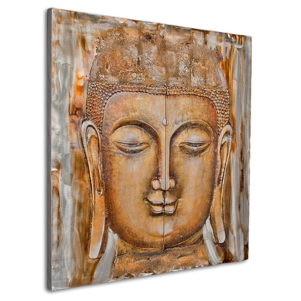 3d metall wandbild big buddha 120x120cm acryl handgemalt 6341. Black Bedroom Furniture Sets. Home Design Ideas