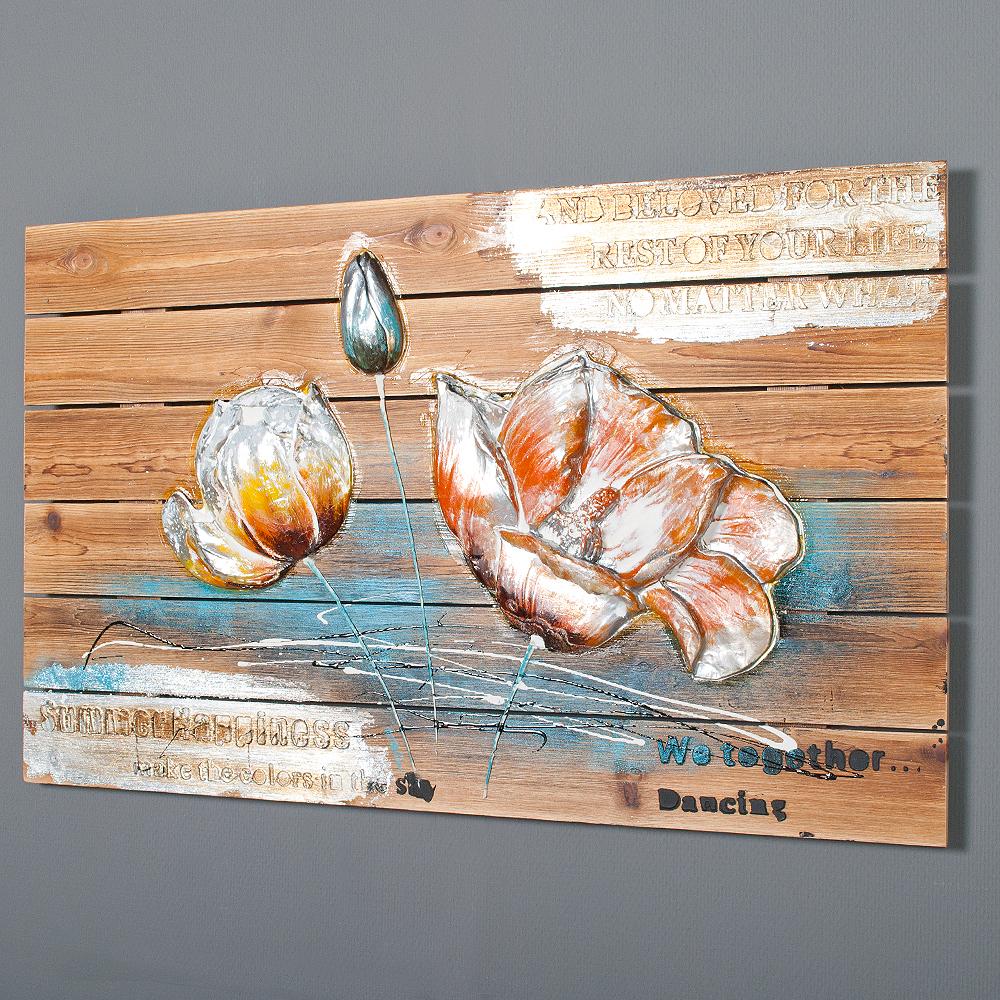 3d holz wandbild flower b 90x55cm acryl handgemalt holzbild holzlatten deko ebay. Black Bedroom Furniture Sets. Home Design Ideas