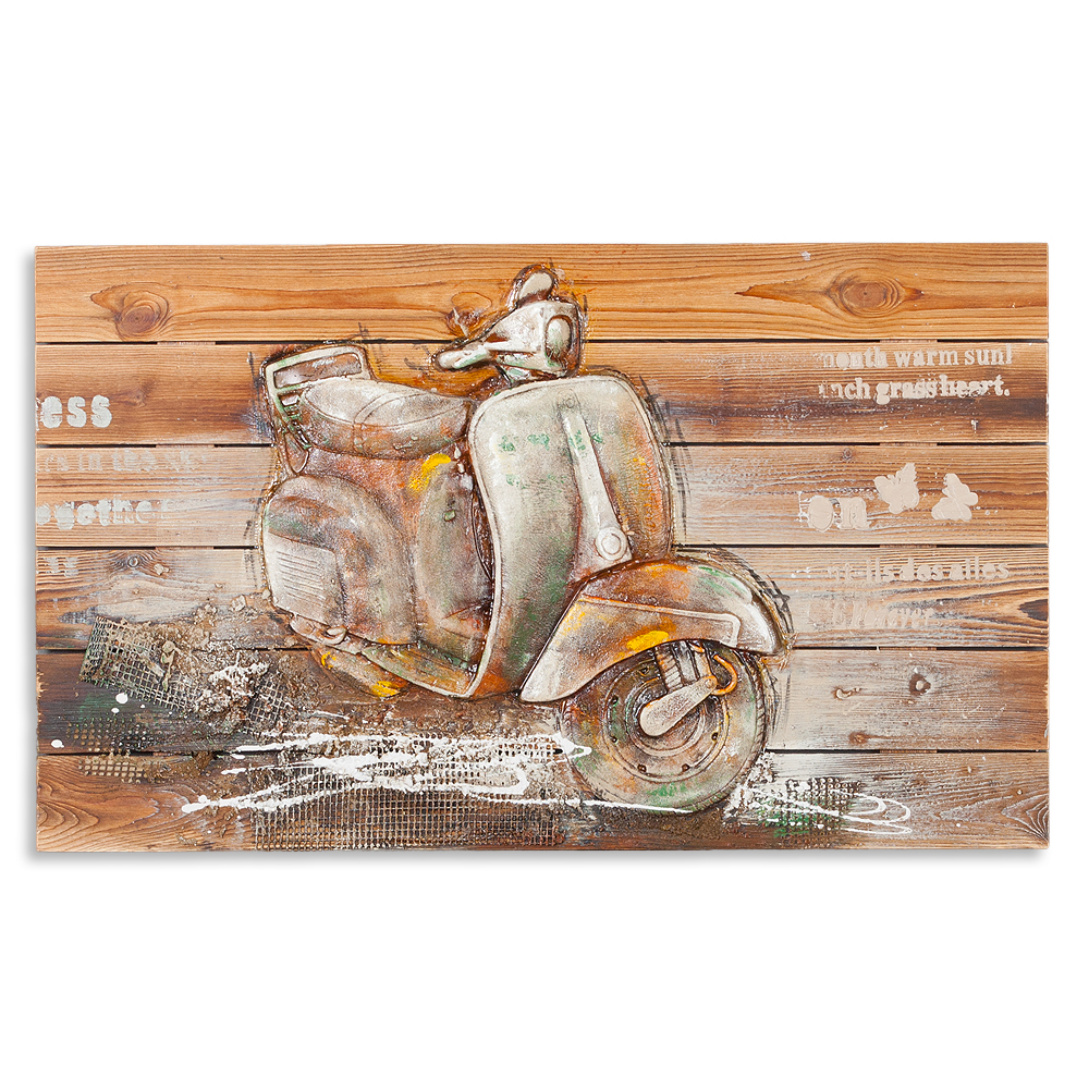 3d holz wandbild vespa 90x55cm acryl handgemalt 6349. Black Bedroom Furniture Sets. Home Design Ideas