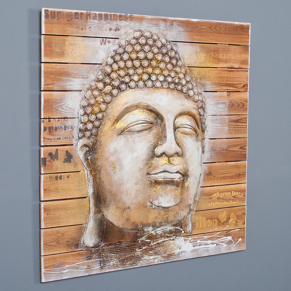 3d holz wandbild buddha head 92x92cm acryl handgemalt 6350. Black Bedroom Furniture Sets. Home Design Ideas