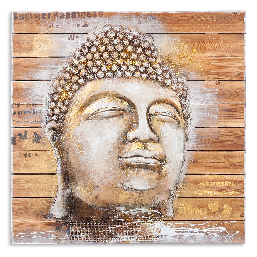 3d holz wandbild buddha head 92x92cm acryl handgemalt holzbild holzlatten deko ebay. Black Bedroom Furniture Sets. Home Design Ideas
