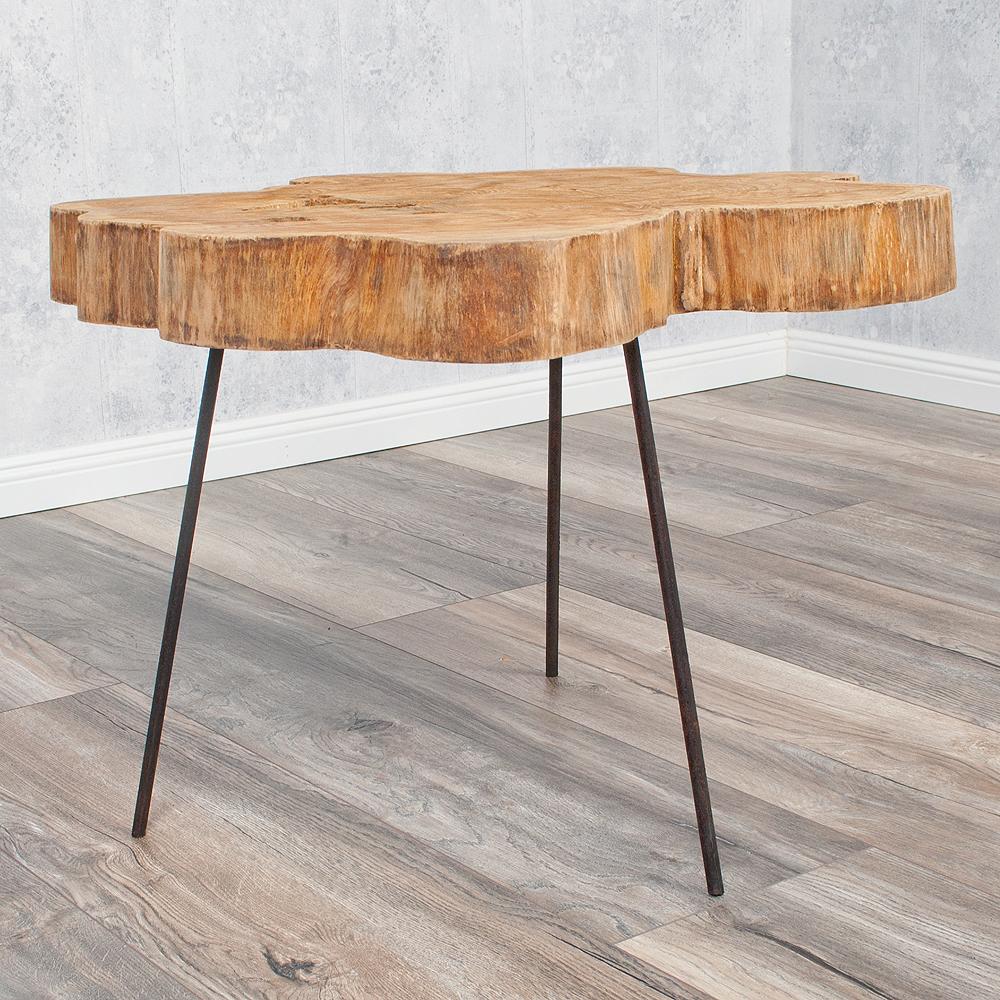 beistelltisch couchtisch slice natural teak massivholz metall ebay. Black Bedroom Furniture Sets. Home Design Ideas