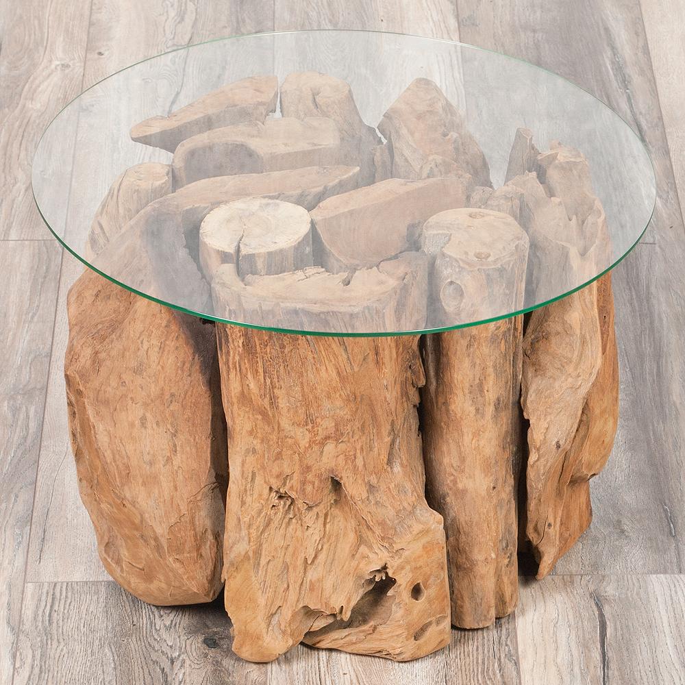 couchtisch kayu 60cm aus massiven teak wurzelholz wohnzimmertisch glas rund ebay. Black Bedroom Furniture Sets. Home Design Ideas