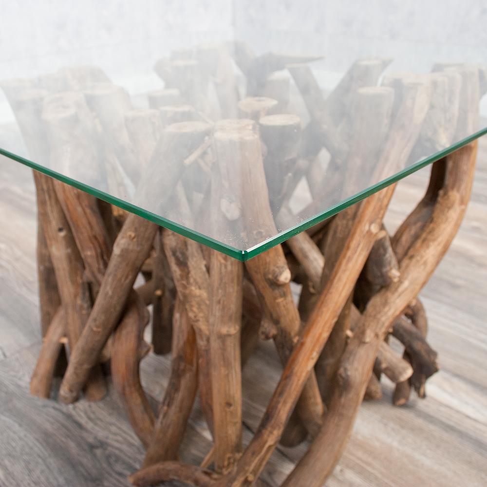 couchtisch indo drift 60x60cm teakholz temperglas natural modern sofatisch ebay. Black Bedroom Furniture Sets. Home Design Ideas