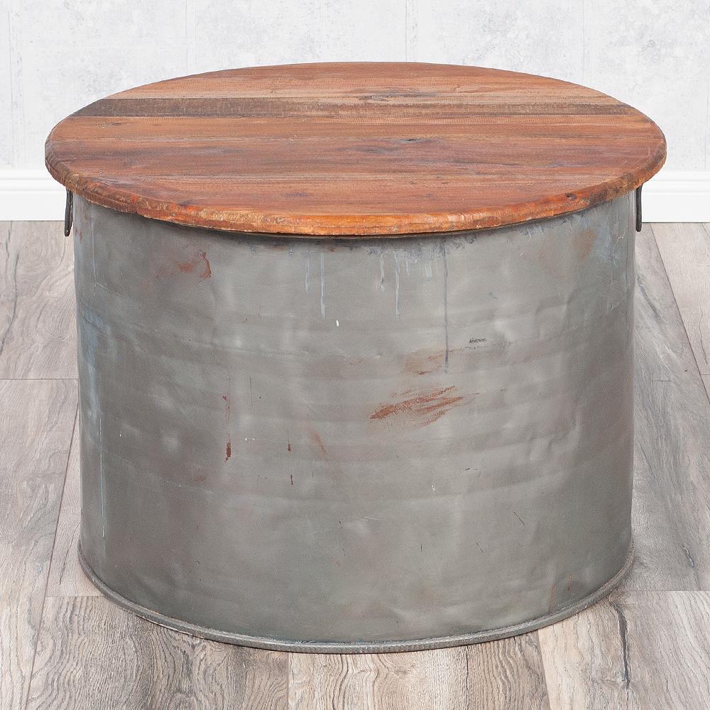 Couchtisch indo drum aus zink holzdeckel for Beistelltisch tonne