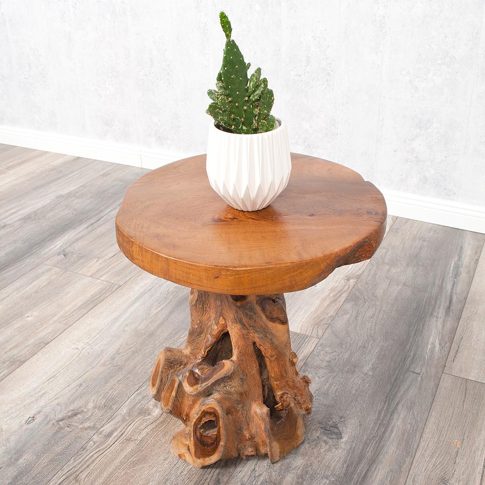 beistelltisch fungo dark ca 40cm massiv teak naturholz. Black Bedroom Furniture Sets. Home Design Ideas