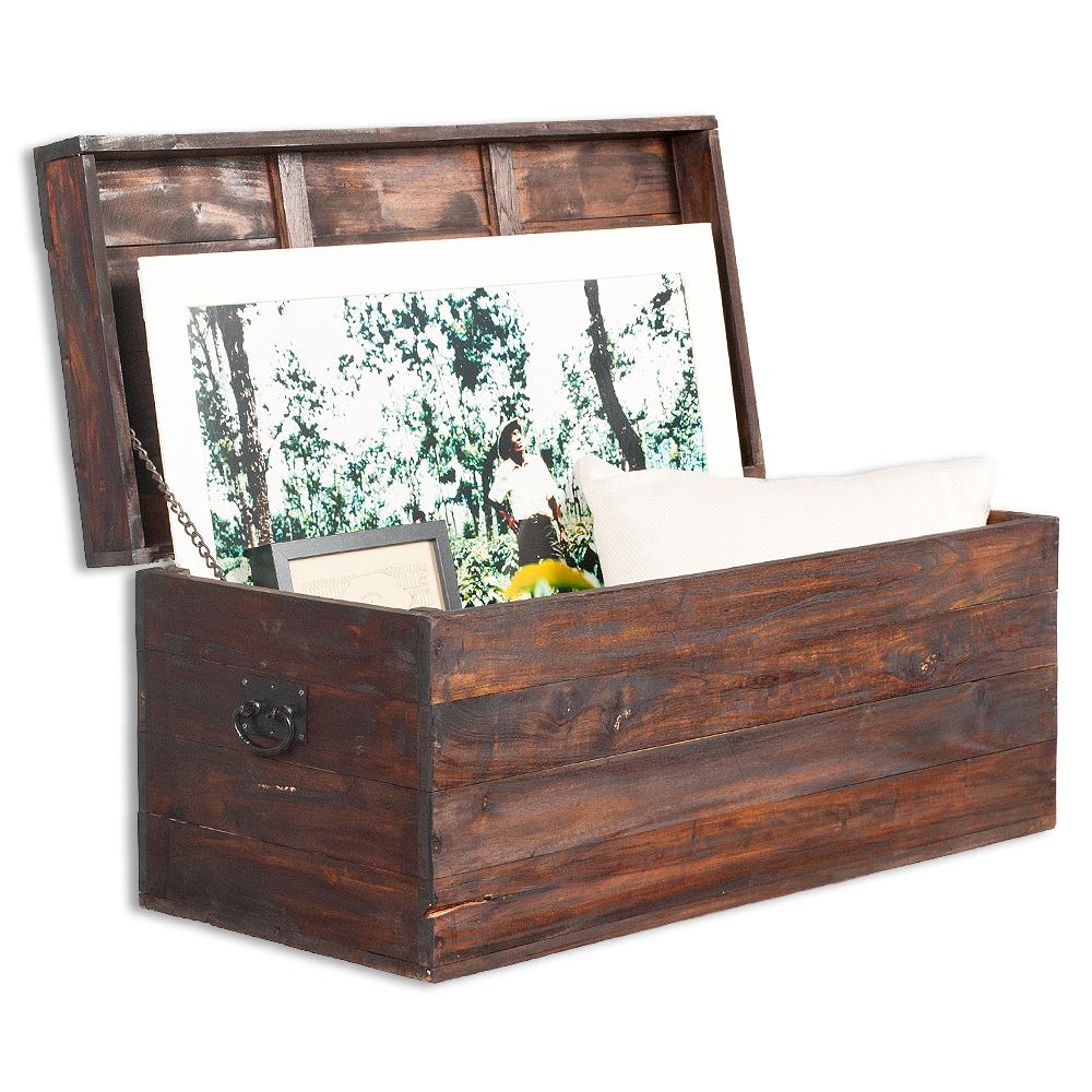 truhe tini dark brown 90cm recycled wood holz holztruhe. Black Bedroom Furniture Sets. Home Design Ideas